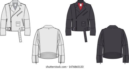 Biker perfecto jacket sketch. Fashion flat illustration.