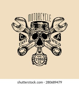 Biker piston-scull with wrenches logo illustration.  MC sign. Custom garage label. Vector vintage motorcycle store emblem. Hand drawn classic chopper shield in ink style.