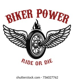 Biker power. Wheel with wings. Design element for logo, label, emblem,sign, badge,, t-shirt, poster. Vector illustration