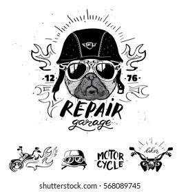 Biker pug dog. Set of vintage motorcycle emblems, labels, badges, logos and design elements. Monochrome style.