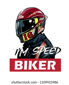 biker in red helmet and jacket with slogan