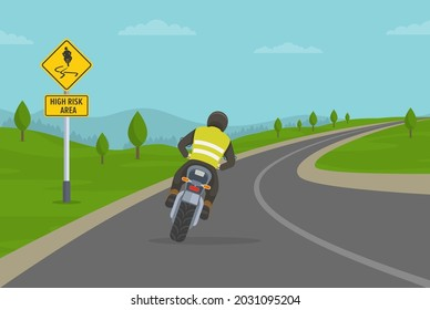 Biker riding motorcycle on the highway. Cornering or turning bike on high risk area. Flat vector illustration template.