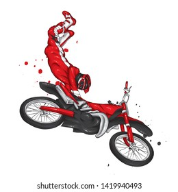 Biker riding a vintage motorcycle. Vector illustration, extreme sport.
