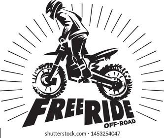 Biker silhouette on the hill. Start ride. Monochrome illustration
