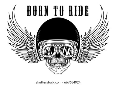 Biker Skull With goggles and wing helmet