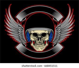 Biker Skull Helmet Wing and Ribbon on Black Background