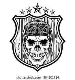 Biker skull wear helmet over a wooden shield.