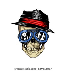 Biker skull wearing hat and goggles white background. Vector skull hand drawing