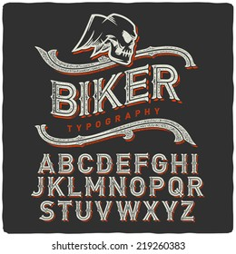 Biker style dirty letters alphabet with wings skull emblem. Dark Background.