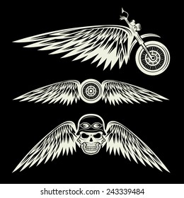 biker theme labels with wheel,bike and skulls with wings