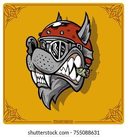 Biker wolf vector graphics. Wolf rider.