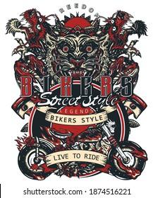 Bikers art. Live to ride slogan. Tiger and asian dragons, burning motorcycle, rider sport print. Moto bike t-shirt design