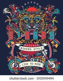 Bikers art. Tiger and asian dragons, burning motorcycle, rider sport print. Moto bike t-shirt design. Live to ride slogan