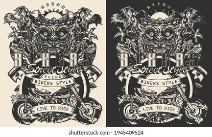 Bikers art. Tiger and asian dragons, burning motorcycle, rider sport print. Moto bike t-shirt design. Live to ride slogan. One color vector. Tattoo and t-shirt design