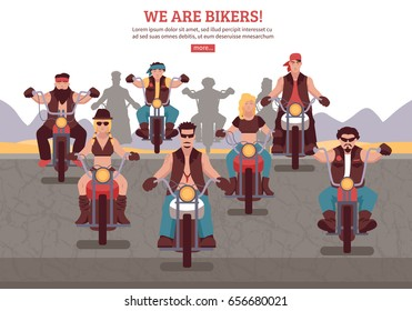 Bikers background with men women riding motorbikes flat vector illustration
