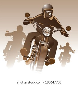 Bikers on the road. Vector illustration