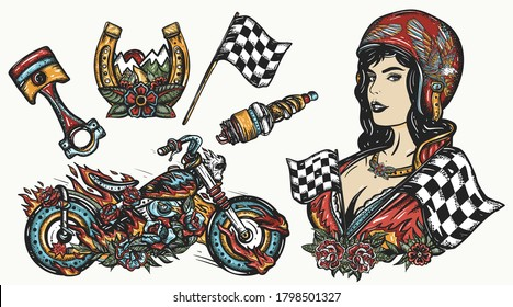 Bikers set. Color tattoo collection. Burning motorcycle, rider sport woman. Pin up girl, spark plug, moto bike. Vector graphic elements. Lifestyle of racers. Traditional tattooing style