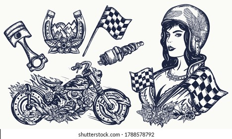 Bikers set. Tattoo collection. Burning motorcycle, rider sport woman. Pin up girl, spark plug, moto bike elements. Lifestyle of racers. Traditional tattooing style