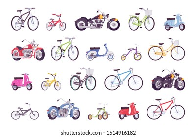 Bikes big bundle set. Bicycle, electric scooter, cruiser, sportbike, scooter, moped, motorbike vehicle collection, street or off-road. Vector flat style cartoon illustration isolated, white background