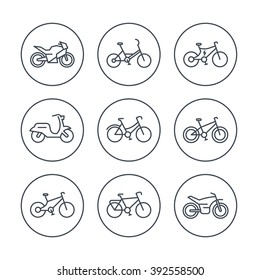 Bikes line icons, bicycle, cycling, motorcycle, motorbike, scooter, electric bike, isolated icons, vector illustration