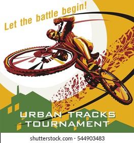 Biking illustration. Cycling poster.