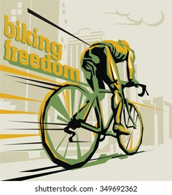 Biking illustration. Layered cycling vector.