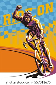 Biking illustration. Layered cycling vector. Perfect ride. Winner of the race. Race flag. Cyclist winner vector.