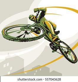 Biking illustration. Layered cycling vector. Perfect ride. Winner of the race. Urban race. Cyclist winner vector.