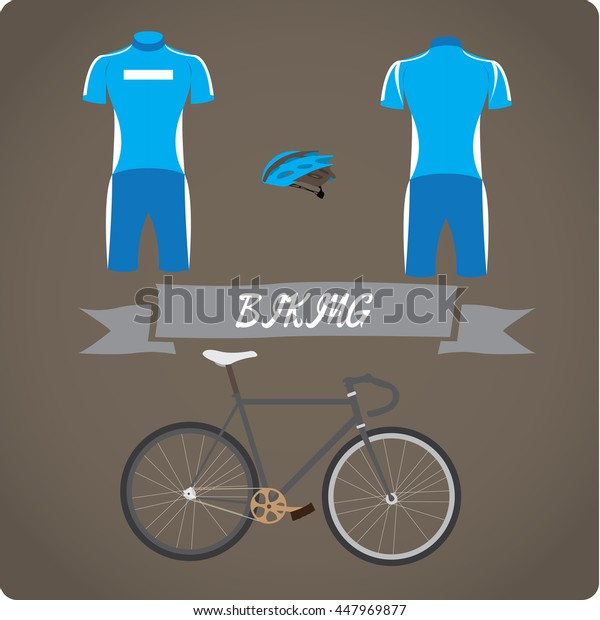 Biking objects, Sport uniform, Vector illustration