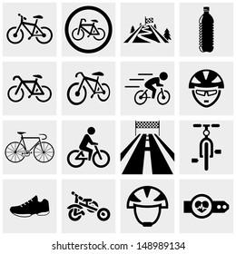 Biking vector icons set on gray.