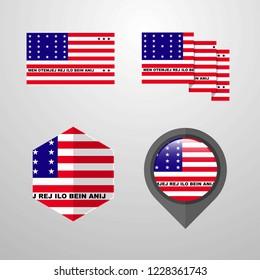 Bikini Atoll flag design set vector