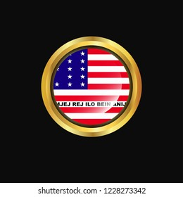 Bikini Atoll flag Golden button