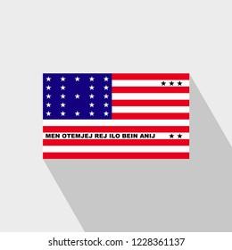 Bikini Atoll flag Long Shadow design vector