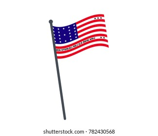 Bikini Atoll flag. The national flag of Bikini Atoll on a pole. The waving flag. The sign and symbol of the country. Realistic vector on white.