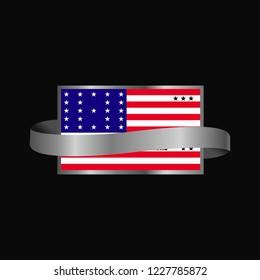 Bikini Atoll flag Ribbon banner design