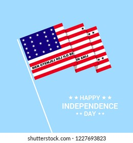 Bikini Atoll Independence day typographic design with flag vector