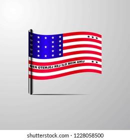 Bikini Atoll waving Shiny Flag design vector