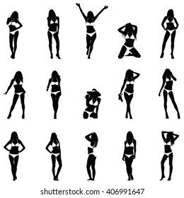 Bikini Girls Black Vector Silhouettes