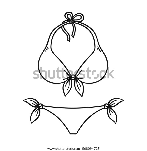 Bikini icon in outline style isolated on white background. Surfing symbol stock vector illustration.