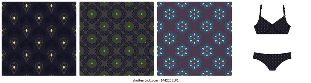 Bikini template with fabric swatches. Set of seamless patterns in blue, yellow, khaki, violet clolors for apparel textile, female dress, fashion garment, swimwear. Simple geometric allover print block