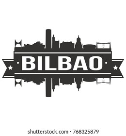 Bilbao Spain Skyline Silhouette Design City Vector Art Famous Buildings Stamp