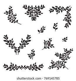 Bilberry or blueberry silhouette set, hand drawn vector elements