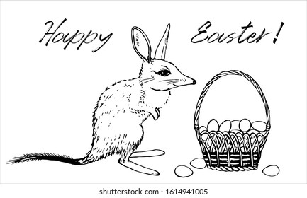 Bilby with easter basket with eggs sketch vector template. Rabbit eared bandicoot concept design with hand drawn character. Aussie bunny print with Happy Easter text