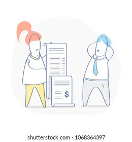 Bill, Costs, great Expense, Spending, Outlay, Financial problems, Debt, Fee. Cute cartoon woman showing long bill to surprised and upset man. Flat outline vector illustration in modern design style.