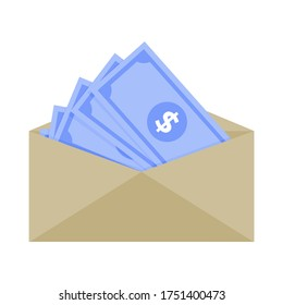 Bill dollar in paper envelope, no tax salary, minimum wage and avarage salary, compensation and corruption. Vector savings, money, free tax cash illustration. Financial investment