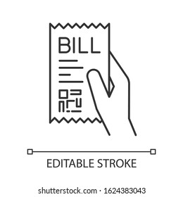 Bill of exchange pixel perfect linear icon. Printed cheque. Payment notice. Purchase proof. Thin line customizable illustration. Contour symbol. Vector isolated outline drawing. Editable stroke