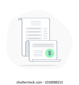 Bill, Expense, Invoice, Money Spending, Financial Report, Account history vector icon concept. Pay document Sign. Flat outline modern vector symbol for web design.