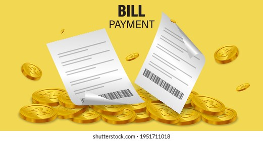 Bill of expenses on the pile of money.Cashback from product payment.Online shopping spending.Bill payment flat isometric vector concept of mobile payment, shopping, banking. - Shutterstock ID 1951711018