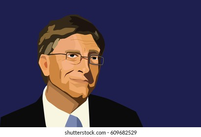 Bill Gates editorial illustration. Vector portrait on a blue background.