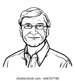 Bill Gates Hand Drawing outline, Bill Gates vector illustration, Bill Gates on a white background